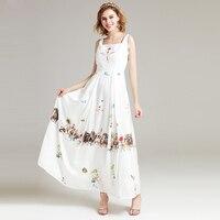 High Quality New 2017 Women Elegant Summer Beach Maxi Dress Boho Casual Party White Printed A