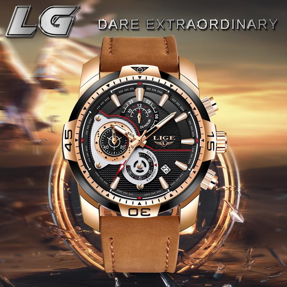HTB1YNlSXJfvK1RjSszhq6AcGFXas LIGE Mens Watches Top Brand Luxury Casual Leather Quartz Clock Male Sport Waterproof Watch Gold Watch Men Relogio Masculino