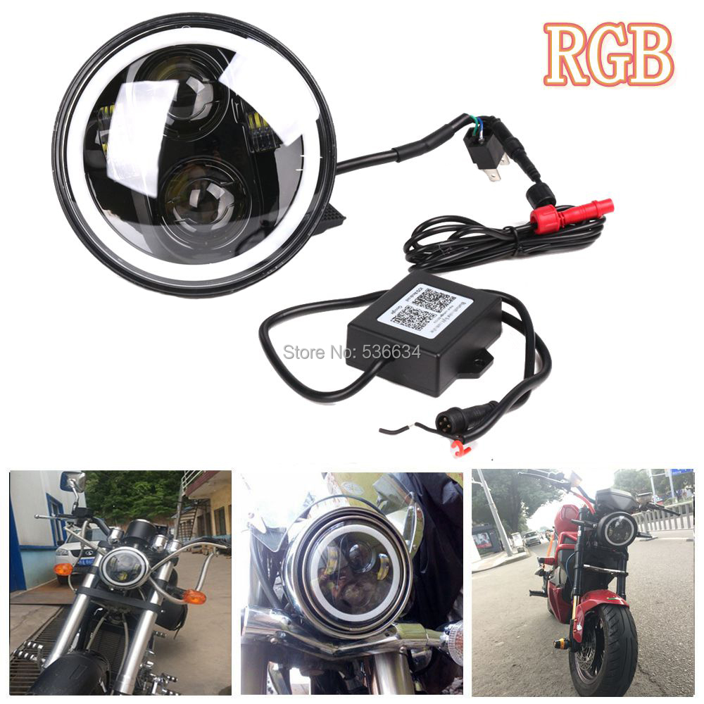 5.75inch Round LED Projector Daymaker Hi/Low Beam with RGB DRL For Harley Davidson Softail CVO Convertible ветровики artway инжекционные с металлизированным молдингом ford focus 3 12 sd