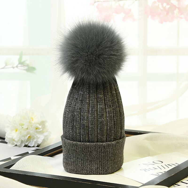 YY004 Thick Warm Knitted Hats Women Baggy Wool Fox Fur Pom pom Bobble Women Girl's Knit Caps   Skullies     Beanies   For Winter