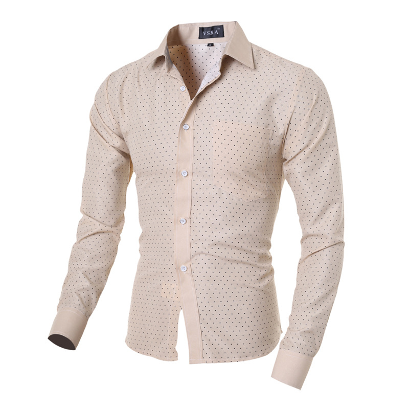 2017 Men's Casual Long Sleeve Shirts Polka Dot Shirt Men 5064-in ...