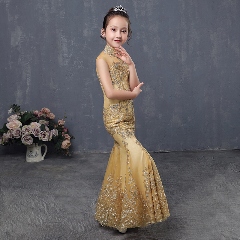 Blingbling Flower Girl Dresses Turtleneck Mermaid Princess Girl Dress Kids Pageant Gown for Wedding Birthday Party Dress AA256 the little mermaid ariel princess dress cosplay adult ariel mermaid costume women mermaid princess ariel green dress cosplay