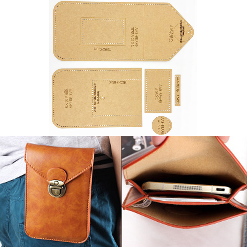 1set DIY Leather Handmade Craft Women Handbag  Mobile Phone Bag Sewing Pattern Hard Kraft Paper Stencil Template 115X175X15MM