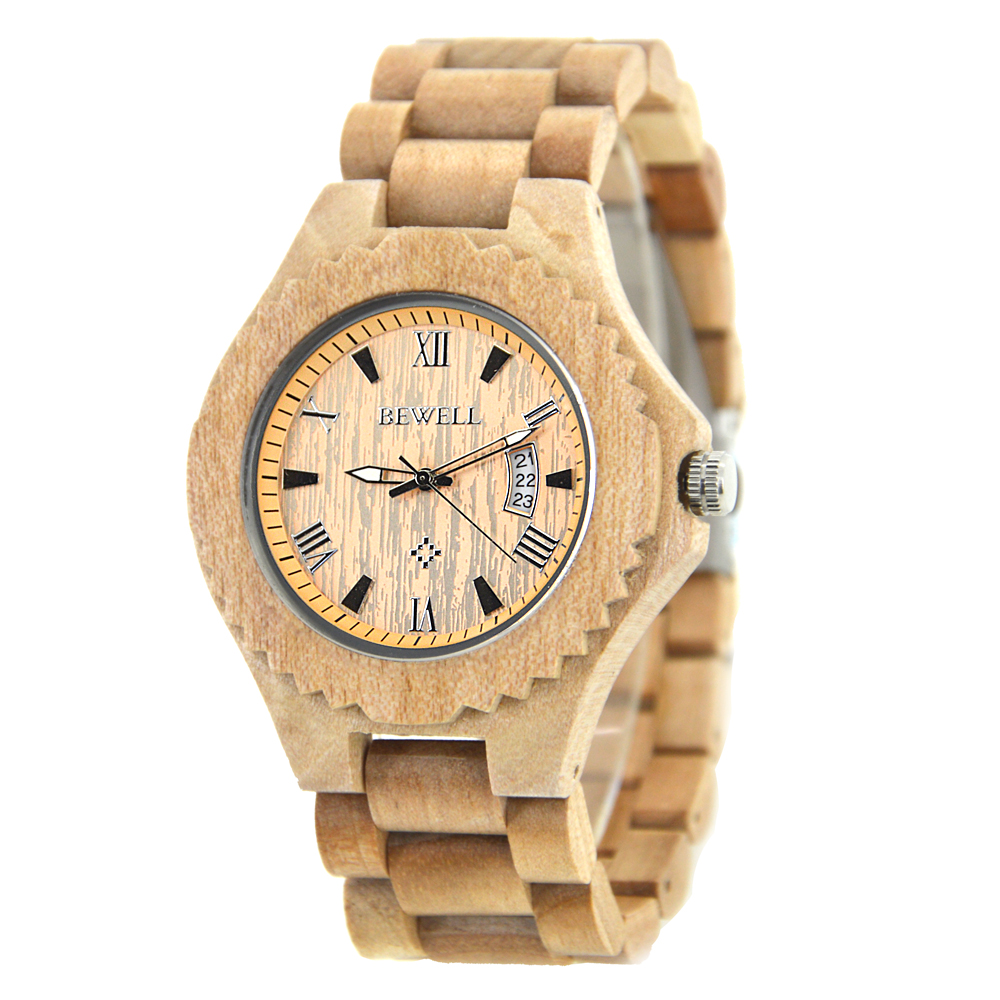 BEWELL Mens Maple Waterproof Watch Wooden Strap with Calendar Display Fashion Concise Creative Watches New Year Gift 129ABEWELL Mens Maple Waterproof Watch Wooden Strap with Calendar Display Fashion Concise Creative Watches New Year Gift 129A