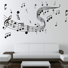 Music Wall Stickers Black Musical Notes Wallpaper Bedroom Living Room Classroom Decorative Sheet Removable Art