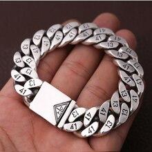 Pure 925 Sterling Silver Men's Bracelet Wide 16mm Triangle socket Lock High Polish Link Chain Male Biker Silver 1314 Bracelet