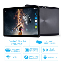 New 10 inch Android 7.0 Tablet pc 64GB WIFI tablets pc Deca core 1920*1200 IPS 8.0MP WiFi GPS FM 2.5D Tempered Glass Tablet pc