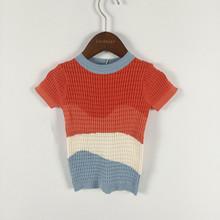 BOBOZONE wave krótki rękaw cienki sweter dla dzieci chłopcy dziewczęta letni sweter tanie tanio lashojas COTTON Na co dzień W paski REGULAR O-neck Unisex Fala cut Brak