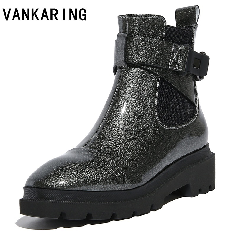VANKARING women shoes new 2018 autumn winter women ankle boots platform high heels square toe slip-on woman casual winter boots enmayla autumn winter chelsea ankle boots for women faux suede square toe high heels shoes woman chunky heels boots khaki black