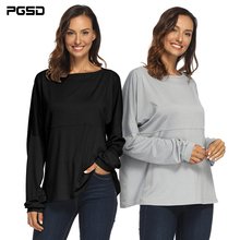 PGSD New Autumn winter Simple fashion pure color Black Women clothes Slash neck Irregular pile sleeves loose Gray T-shirt female