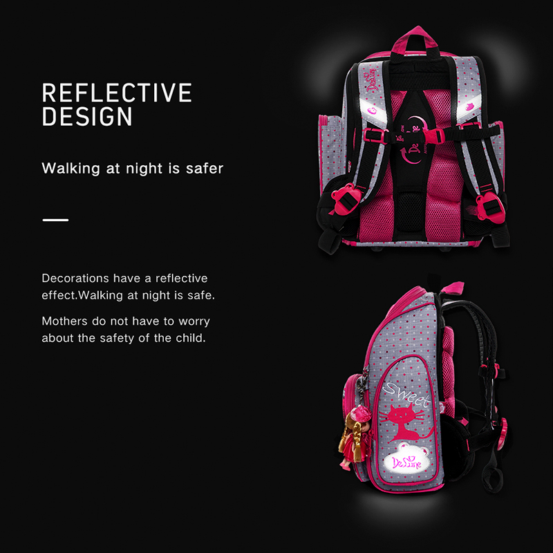 Delune 2019 Cat Pattern School Bags For Girls Boys Cartoon Backpacks Children Orthopedic Backpacks Can Folding Mochila Infantil in School Bags from Luggage Bags