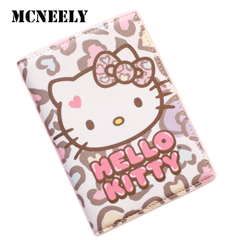 Girls Love Cat Passport Cover Travel Accessorie PU Passport Protector With Bank ID Card Holder Gifts For Kids Girls Boys