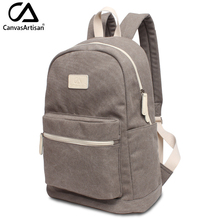 Canvasartisan brand new unisex canvas backpack men and women leisure rucksack big capacity laptop travel backpacks light gray