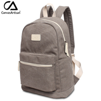 Fashion Solid Backpack Women Canvas Big School Bags Outdoor Activity Travel Backpacks Gray Unisex Zipper