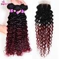 Best Malaysian Virgin Hair Kinky Curly Weave Human Hair 3 Bundles with Closure Sexy Formula Hair Malaysian Curly Burgundy Hair