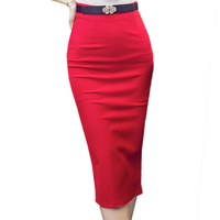 Autumn Winter New 2018 Women Fashion High Waist Pencil Skirts Female Office Lady Slim Solid Color With Belt Sheath Skirts O345