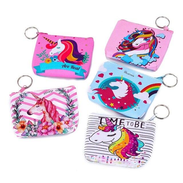 Cute Animal Unicorn Coin Pocket Purses Women Small Storage Pouch For Card Holders Key Case Zipper Girls Change Wallet Money Bag