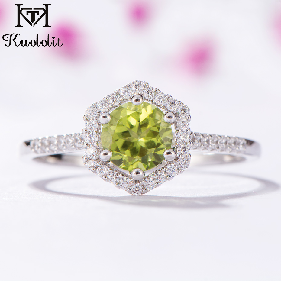 Kuololit Natural Peridot Gemstone Rings for Women 925 Sterling Silver Round Cut Stone Ring Wedding Engagement Gift Fine JewelryKuololit Natural Peridot Gemstone Rings for Women 925 Sterling Silver Round Cut Stone Ring Wedding Engagement Gift Fine Jewelry