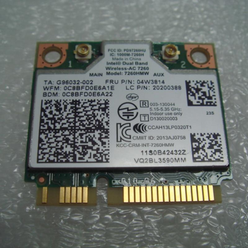 Int double bande sans fil-AC 7260 WiFi 2x2 AC + BT4.0 PCIE HMC carte WLAN pour Lenovo S40 K4450 S440 S540 Series, FRU 04w3814 20200388Int double bande sans fil-AC 7260 WiFi 2x2 AC + BT4.0 PCIE HMC carte WLAN pour Lenovo S40 K4450 S440 S540 Series, FRU 04w3814 20200388