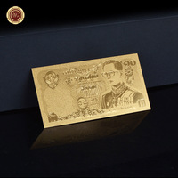 Collectible Gold Banknote Thailand 10 Baht Metal Pure Gold Plated Banknote