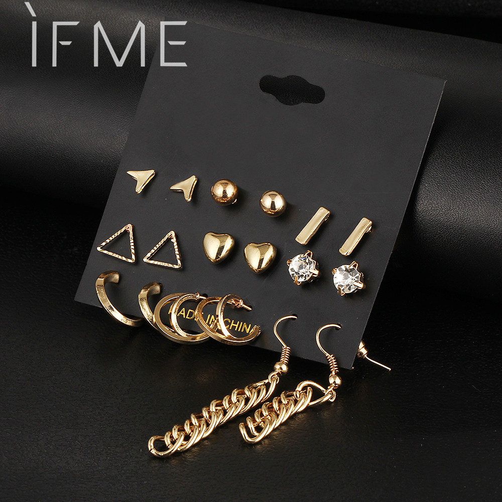 9 pcs Set Crystal Heart Gold Color Stud Earrings Tassel Triangle Vintage Silver Color Earring Set For Women Jewelry Oorbellen