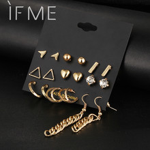 9 pcs/Set Crystal Heart Gold Color Stud Earrings Tassel Triangle Vintage Silver Color Earring Set For Women Jewelry Oorbellen