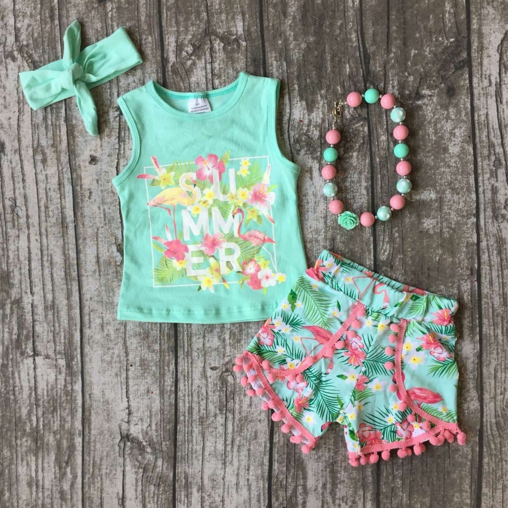 baby Girls Summer clothes girls cutest SUMMER flower outfits baby girls mint tops floral shorts clothing with match accessories 2pcs ruffles newborn baby clothes 2017 summer princess girls floral dress tops baby bloomers shorts bottom outfits sunsuit 0 24m