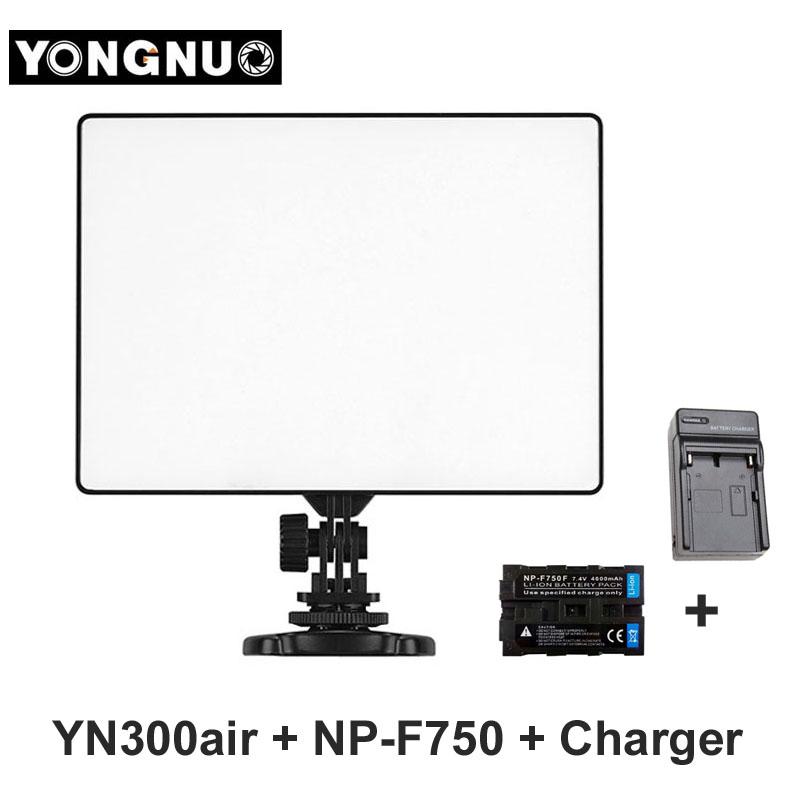 Prix pour YONGNUO YN300 YN-300 Air LED Caméra Vidéo Lumière 3200 K-5500 K avec NP-F750 Batterie + Chargeur pour Canon Nikon DSLR & caméscope