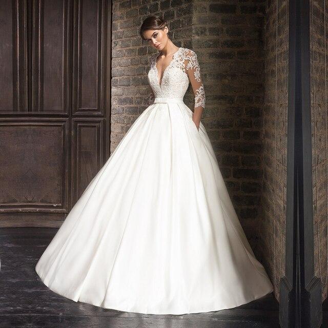 Robe de mariage Vintage Langarm Satin Hochzeitskleid Ballkleid mit Taschen  2017 Durchsichtig Zurück Brautkleider gelinlik in Robe de mariage Vintage  ...