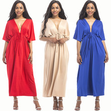Jessie Vinson Women Plus Size Long Dress Deep V-neck Backless Solid Pleated Tunic  Maxi Dress Vestido Sexy Summer Party Dress 4ee7578babff