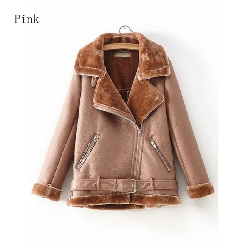 2018 Hot Sale High Quality PU   Leather   Jackets Women hairly Outwear Coats Autumn Winter Warm Clothes for Female Casual Streetwear