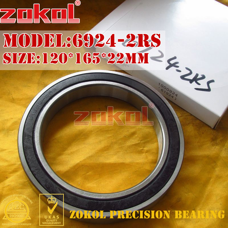 ZOKOL 6924RS bearing 6924 2RS 1000924 (61924) 6924-2RS Deep Groove ball bearing 120*165*22mm zokol bearing 6017 2rs 180117 deep groove ball bearing 85 130 22mm