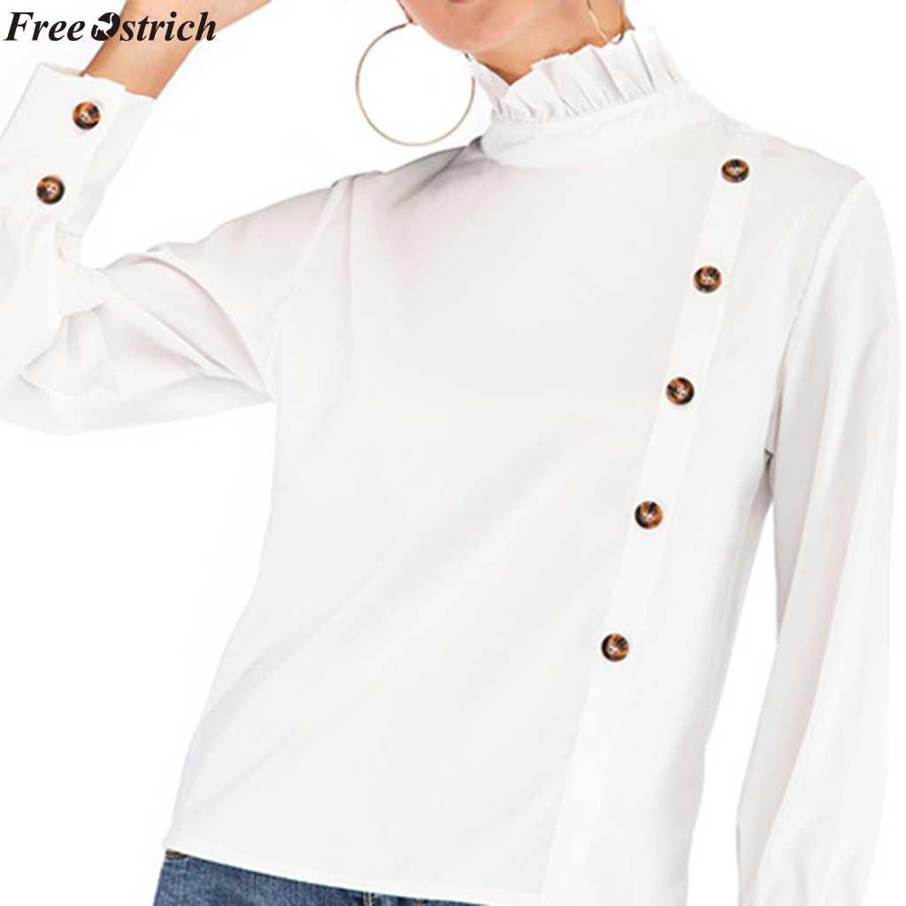 ฟรีนกกระจอกเทศเสื้อผู้หญิง Botton เสื้อแขนยาวเสื้อคอเต่าเสื้อผู้หญิงฤดูร้อนสีทึบแฟชั่น