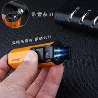 Creative Compact Jet Butane Lighter Torch Lighter Windproof Gasoline Light Lighter Keychains 1300 C Cigarette Accessories