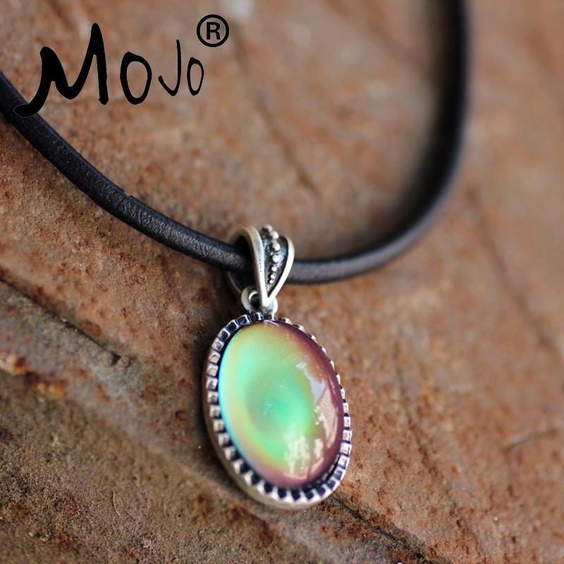 Mojo punk style real antique plated mood pendant calf leather rope mojo punk style real antique plated mood pendant calf leather rope chain mood color change necklace jewelry silver mj snk002 in pendant necklaces from mozeypictures Image collections