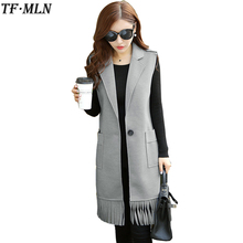 TFMLN Ladies Vest Warm Casual Long Vests Sleeveless Gray Slim Jacket Girl Cotton Vest New Red Jackets Gilet Colete Plus size
