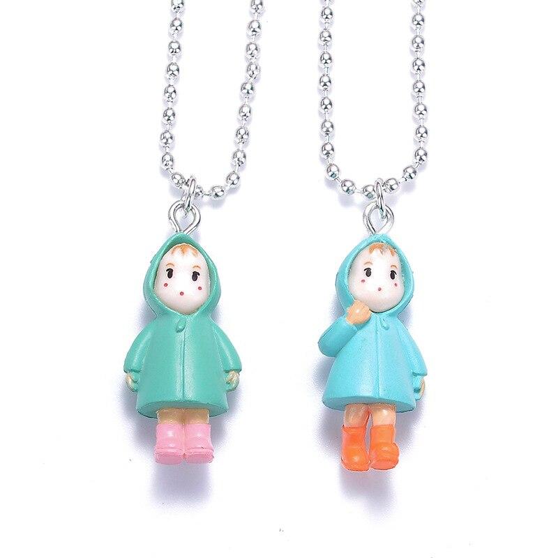 Cute Cartoon Character Pendant Bead Chain Necklace Totoro Protagonist Resin Pendant Necklace Children Women