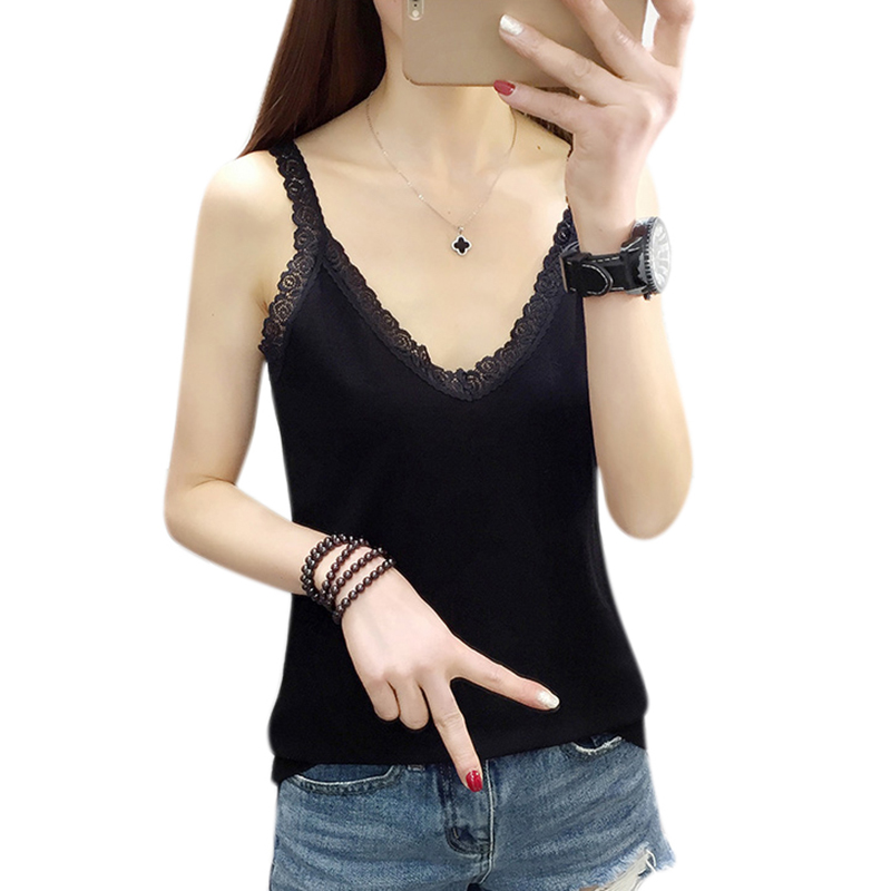 2019 Summer Sexy Hook Flower Lace Solid Stitching V-neck Camis Female Knitted Short Section Slim Outer Wear Shirt Trend   Tank     Top