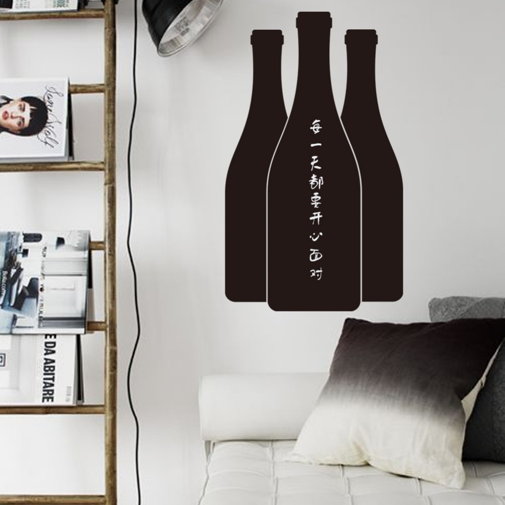 219* Home Decoration wine beer bottle chalkboard 3D stickers blackboard home bar kitchen note stikcer waterproof message leave