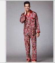 Summer autumn Mens Silk Satin Pajamas Set Pajama Pyjamas twinset Sleepwear Loungewear L XL XXL Perfect Gifts