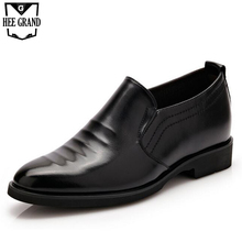 Man's PU Leather Shoes Solid Plain Slip On Men's Loafers Inner Height Business Shoes For Boys Pointed Toe Dress Flats Man XMP572