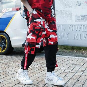 新款时尚男士忍者丝带裤子嘻哈街舞慢跑运动裤拉链运动服裤子长裤裤子BF1裤子roupas da moda masculina 2019