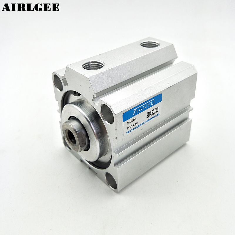Double Action Single Rod 50mm Bore 40mm Stroke SDA50x40 Thin Pneumatic Air Cylinder 25mm bore 45mm stroke double action thin air cylinder