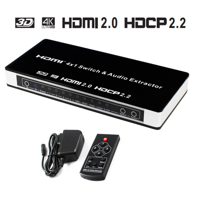 b0431e53d50ad US $50.48 33% OFF HDMI Switch 4x1 Audio Extractor 4K x 2K@60hz with IR  Remote Control and Power Adapter Full HD 1080P HDMI2.0 HDCP2.2 7.1CH on ...
