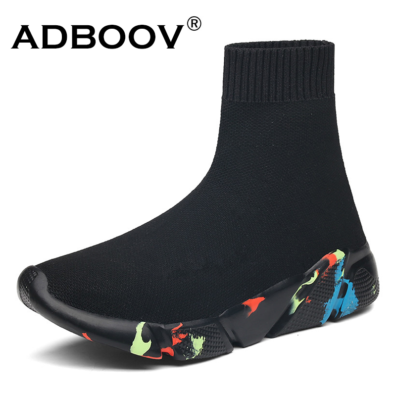 ADBOOV High Top Men Women Sneakers Knit Vamp Breathable Dad Shoes Ankle Sock Boots Woman Black Sapato Feminino