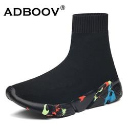 ADBOOV High Top Männer Frauen Turnschuhe Stricken Vamp Atmungsaktiv Papa Schuhe Knöchel Socke Stiefel Frau Schwarz Sapato Feminino