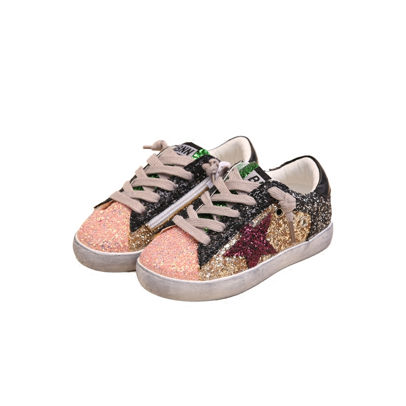 Boys Shoes Autumn Children Glowing Sneaker Kids Fashion Lace Up Sequins Breathable Shoes Girls Travel Leisure