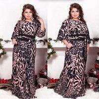 Big size 6XL 2019 Fat MM Woman dress Spring loose printing long dresses plus size women clothing 6xl dress