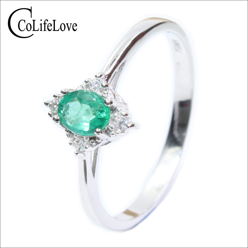 Vintage silver emerald ring 0.35 ct 4 mm * 5 mm natural Kenya emerald ring solid 925 sterling silver emerald ring for wedding fashion silver emerald ring for party 2 pieces 4 mm 5 mm natural emerald silver ring 925 sterling silver emerald jewelry