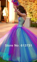 2014 New Fashion Sweetheart Rainbow Prom Quinceanera Dress Glitter Sparkle Beading Colorful Tulle Ball Gown Wedding Dresses